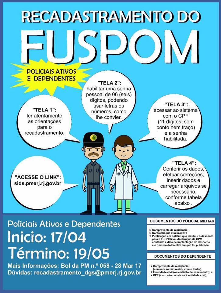 Policial Militar informe-se sobre o recadastramento do FUSPOM
